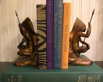 Jennings Brothers Bronze Native American Bookends