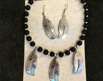 Three  silverEagle with Feather  black onyxNecklace  withSilver  Eagle Earings
