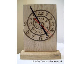 Modern wooden desk clock Spiral of Time and others: Wooden desk clock interior decor gift idea
