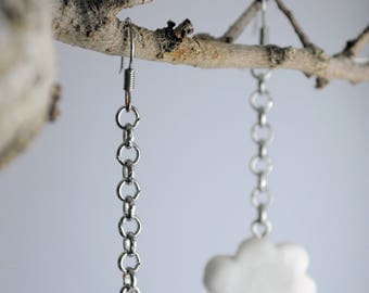 White clouds-long earrings with pendants
