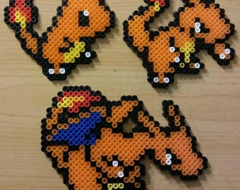 Charizard Evolution Chain Perler Bead Magnets