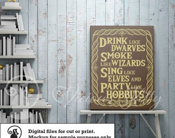 Drink like dwarves, lord of the rings, lotr, hobbits, ai dxf emf eps pdf png psd svg svgz tif files for cricut, silhouette, brother