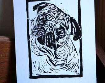 """Original, Unframed, Hand Pulled, Linocut Print - Pug - 6""""x4"""" on A5 Paper - lino ink paper"""