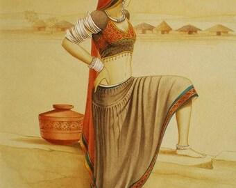 Watercolor painting, ART, Old Village Look on desert