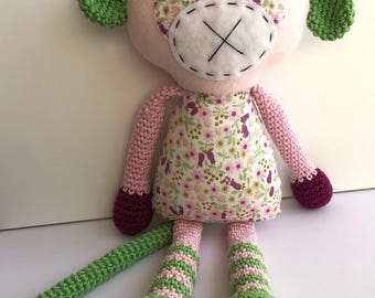 Maisie the Monkey – Crochet and Fabric Plushie Soft Toy – BABY SAFE and UNIQUE