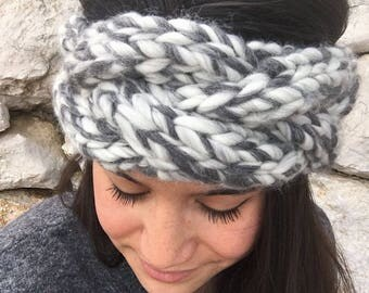 Handmade 100% wool Heather grey headband to keep you warm