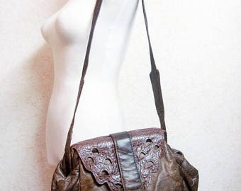 Fiber Street VINTAGE!  beautiful 80s leather art! Crocodile Embossed and special design & leather bag