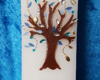 Taufkerze Blue Tree of Life for boys