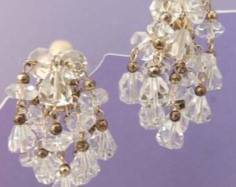 MARVELLA Cascading Crystal Earrings / Vintage Waterfall Crystal Earrings / Marvella Jewelry / Bridal Earrings / Designer Signed Earrings