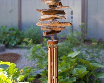 Wind Chime Natural Driftwood Large Copper Chimes Outdoor Windchimes