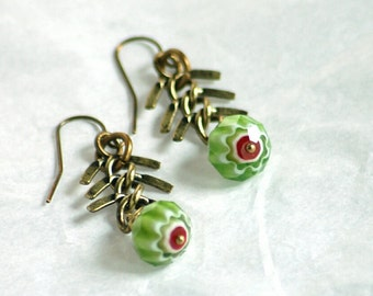 Fish Tail Fish Bone Bronze Gold Green Stripe Glass Red Heart Faceted Trade Bead Earrings