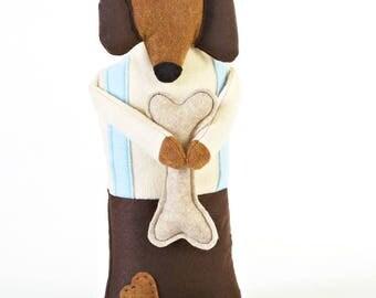 dog stuffed animal - boy doll - stuffed dog - eco friendly felt