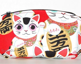 Fortune Cats Coin Purse/Sunglasses Case - Reading Glasses Case, Change Purse, Maneki Neko, Alexander Henry, Coupon Holder, Lipstick Pouch