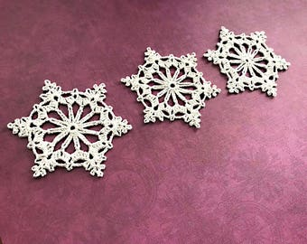 3 Crochet Snowflake Ornaments, Christmas Tree Ornaments, Holiday Ornaments, Holiday Decor, Co-Worker Gifts, Package Toppers