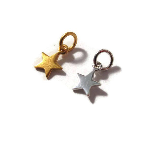 Tiny Star Charm, Sterling Silver of 24k Matte Gold Plate over Sterling Star Pendant, Small Lucky Star Charm for Making Jewelry (Ch 862)