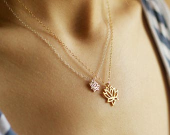 lotus necklace set - silver and gold layering necklaces, gold flower, silver flower, namaste necklace, yoga necklace, spiritual jewelry, zen