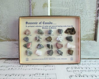 Vintage Boxed Rock & Mineral Collection - From the Province of Ontario - Canadian Rockcraft