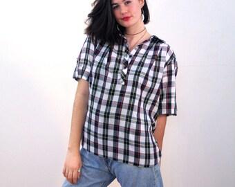 Brit, 70s Black Plaid Blouse XL, Tartan Plaid Blouse, Pullover Plaid Top, Black Plaid Top, 70s Tartan Shirt, Short Sleeve Shirt, Extra Large