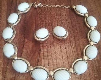Crown Trifari Gold Tone Necklace and Earring Set with Milk Glass, Necklace and Earring Set, Vintage Jewelry Set, Crown Trifari
