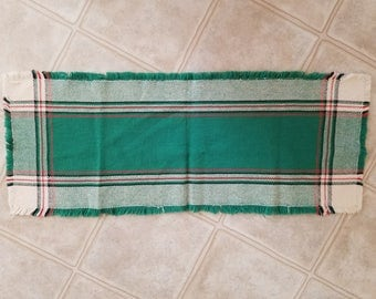 Vintage Hand Woven in Quebec Red, White, Green and Black Plaid Table Runner, Mat, Labeled by Carmen & Lucie
