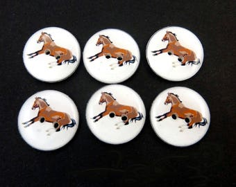 "6 Horse Buttons. Equestrian Buttons . 3/4"" or 20 mm round."