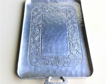 Everlast Hand Forged Aluminum Tray , Silver Metal Rectangular Tray with Flower Inlay , Retro Serving Tray