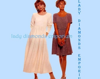 McCalls 7757 Womens Pullover Dress w Gathered Mini Maxi Skirt size 12 14 16 18 Bust 34 36 38 40 Plus Size Vintage Sewing Pattern Uncut FF