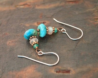 Green Onyx, Labradorite and Turquoise Earrings
