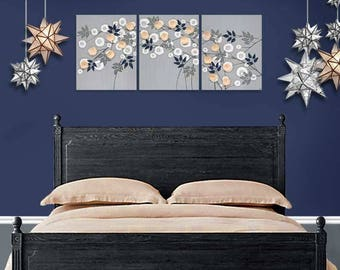 Gray and Peach Wall Art Large Flower Painting on Canvas Triptych in Peach Blue and Gray - 50x20