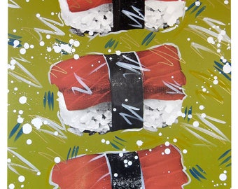 Sushi Party! 24x36 Screenprinted and Painted Wall Art