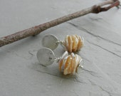 Special Listing for G-Natural Petal Keishi Pearl Stack and Recycled Hammerd Disc Dangle Earrings--Minimalist--Organic