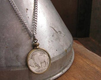 Coin Jewelry - Unisex Coin Necklace - Classic Buffalo Nickel Necklace - Gift for Man - Gifts Under 30 - Stainless Steel Chain Coin Necklace