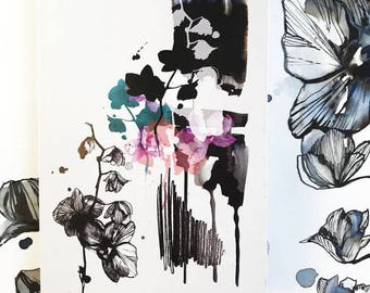A6 Notebook - Black Orchid illustration by Holly Sharpe