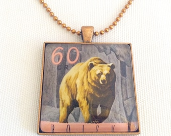 bear necklace, men's pendant, vintage postage stamp 1967, Father's Day gift, unisex jewelry