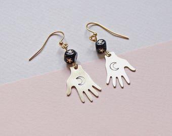 TAROT hand moon and star earrings