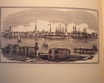 Fairhaven New Bedford Massachusetts Town Engravings 1964 - New England Antiquarian Society - framable gift town history
