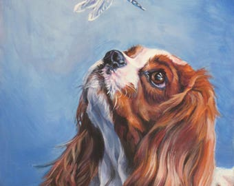 "blenheim Cavalier King Charles Spaniel DOG ART portrait PRINT of LAShepard painting  8x10"""