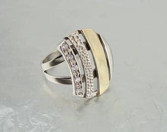Handmade 9K Yellow Gold 925 Sterling Silver CZ Ring, Israeli Jewelry, Round Ring, Any Size, Free shipping, Wedding, Birthday, Bridal Jewelry