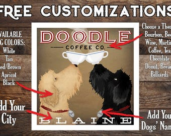 DOODLE Labradoodle Goldendoodle FREE CUSTOMIZATION  Coffee or Beer Brewing  -  Double Dog Brewing Company print Signed