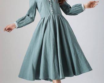 charming dress, linen dress, midi dress with lace detail on shoulder and cuff, custom made, womens dress, green dress, pleated dress (794)