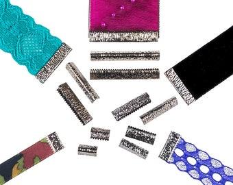 No Loop Ribbon Clamp Crimp Ends - Assorted Sizes - Gunmetal - Artisan Series