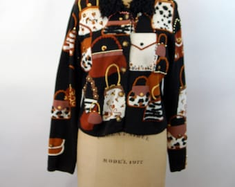 Michael Simon sweater novelty cardigan purses and bags beaded appliqued embroidered 1997