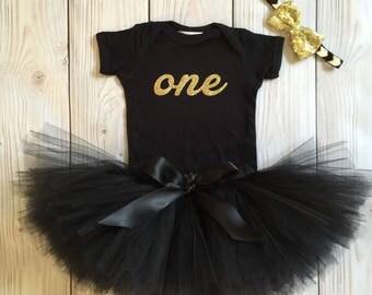 Black Gold Birthday Outfit | Birthday Outfits | 1st Birthday Outfit | First Birthday Outfit | Cake Smash Outfits | Tutu Dress Birthday Tutu