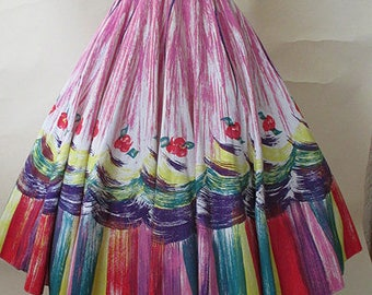 """ON HOLD Charming 1950's Novelty Border Print Circle Skirt By """"Madalyn Miller Original"""" Rockabilly Swing Dance Pinup girl size small/med"""