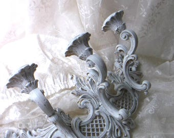 Distressed Shabby Wall Sconce Candelabra.  French Country White. Baroque ornate Candleholder. Vintage Syroco Hollywood Regency Decor