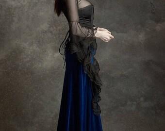 Grenadier Romantic Long Velvet Skirt - Fairy Tale Wedding Skirt Handmade to Measure - Dark Romantic Couture by Rose Mortem