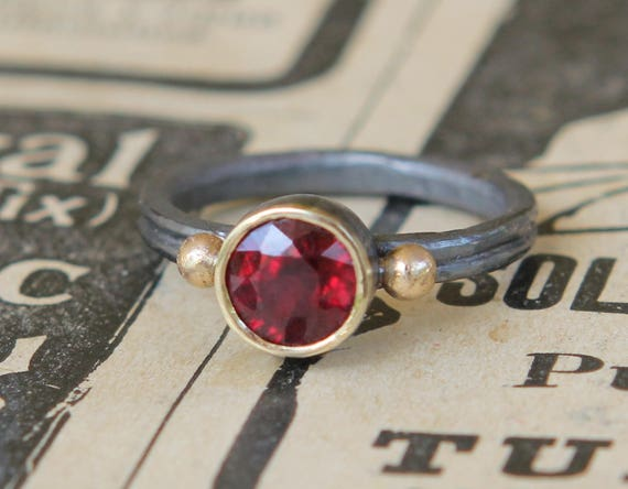 Ruby Ring, July Birthstone Ring, Unique Engagement Ring, Artisan Jewelry, Artisan Gifts, Ruby Ring Gold Sterling Silver, Christmas Gift