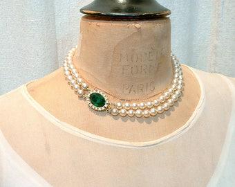 Vintage Emerald Rhinestone Double Strand Pearl Bridal Necklace, Art Deco Ivory Glass Pearl Choker Gold Green Pave Clasp, Designer TARA