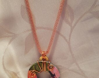 Industrial Chic Upcycled Hardware Jewelry - Glazed Washer. Floral Pattern with Copper Swirl.
