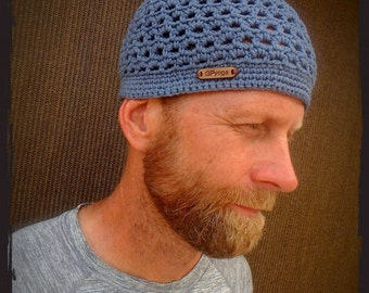 Antique BLUE BEANIE for MEN crochet hat Cotton hat Kufi cap Skullcap urban hat outdoorsman Mens beanie hat handmade headwear GPyoga